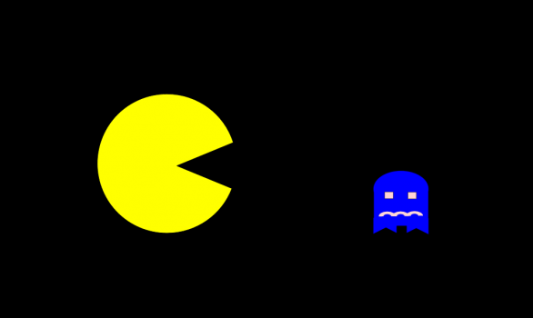 PacMan chasing a little blue ghost.