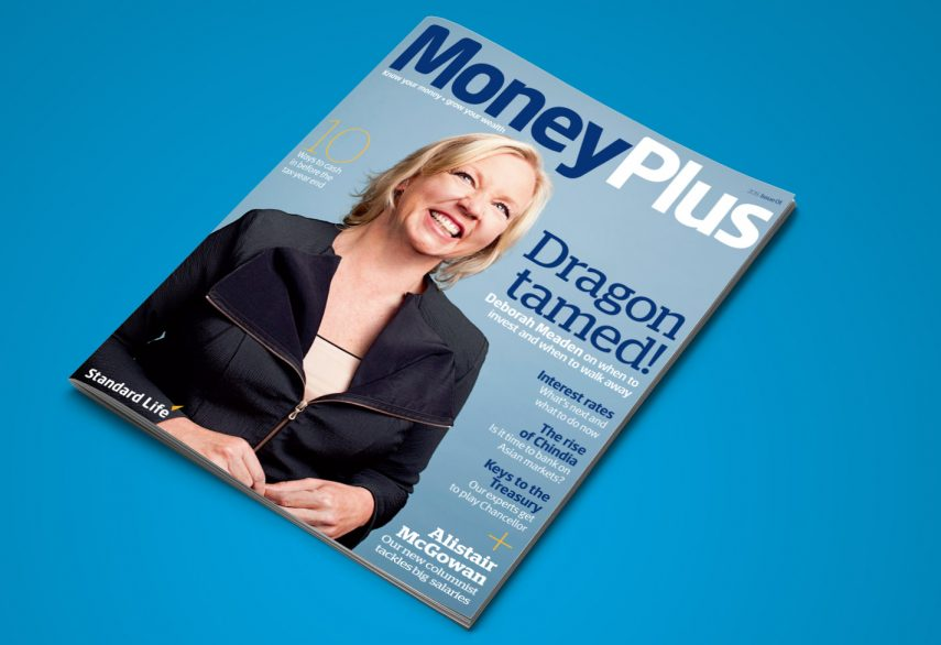 The cover of Standard Life MoneyPlus magazine with a photo of Deborah Meaden