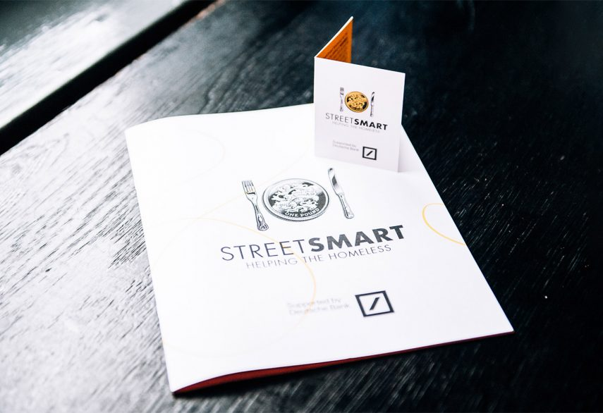 StreetSmart brochure and table card on a restaurant table