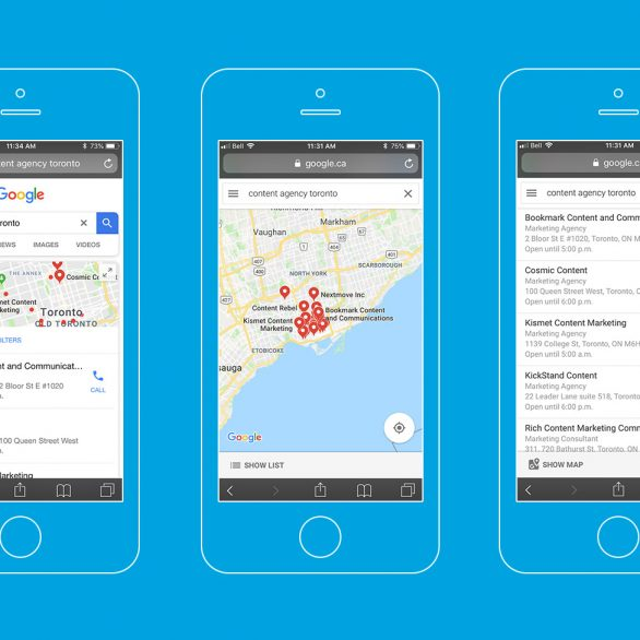 Google Local Map Pack – Content agency Toronto mobile search results