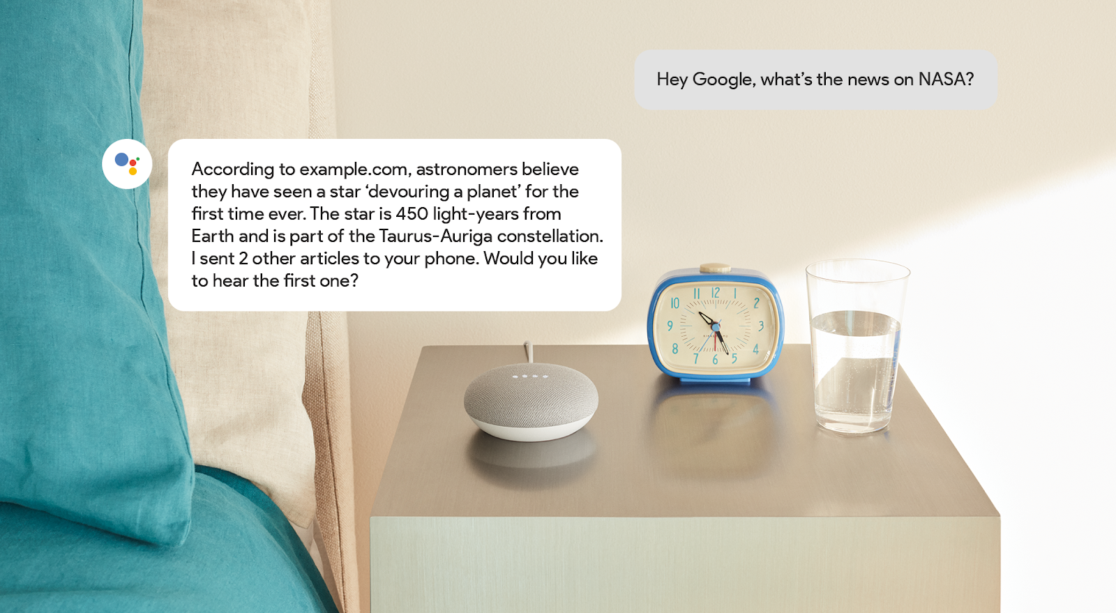 News results via Google Home Mini