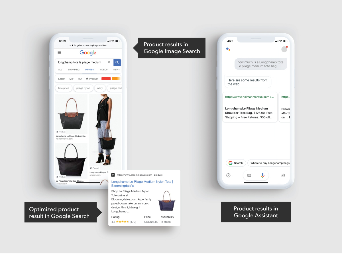 product results in Google Search and Google Assistant