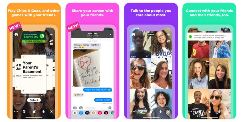 Four screenshots illustrating features of the Houseparty app