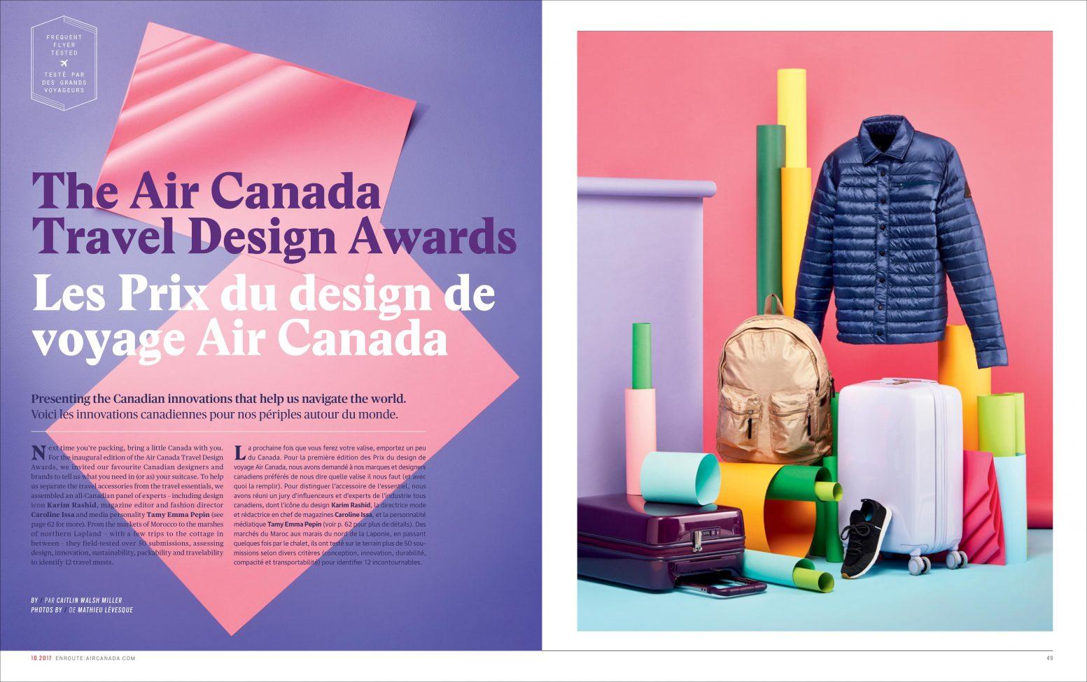 les prix du design de voyage air canada enroute septembre 2018